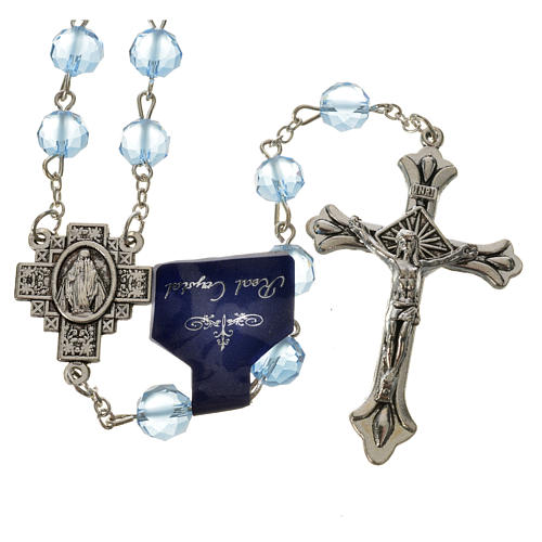 Rosary with satin crystal grains, light blue 1