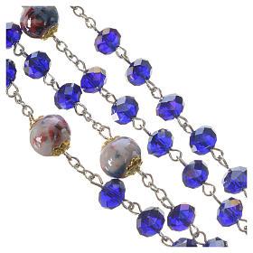 Chapelet cristal et porcelaine 8x6 mm bleu s4