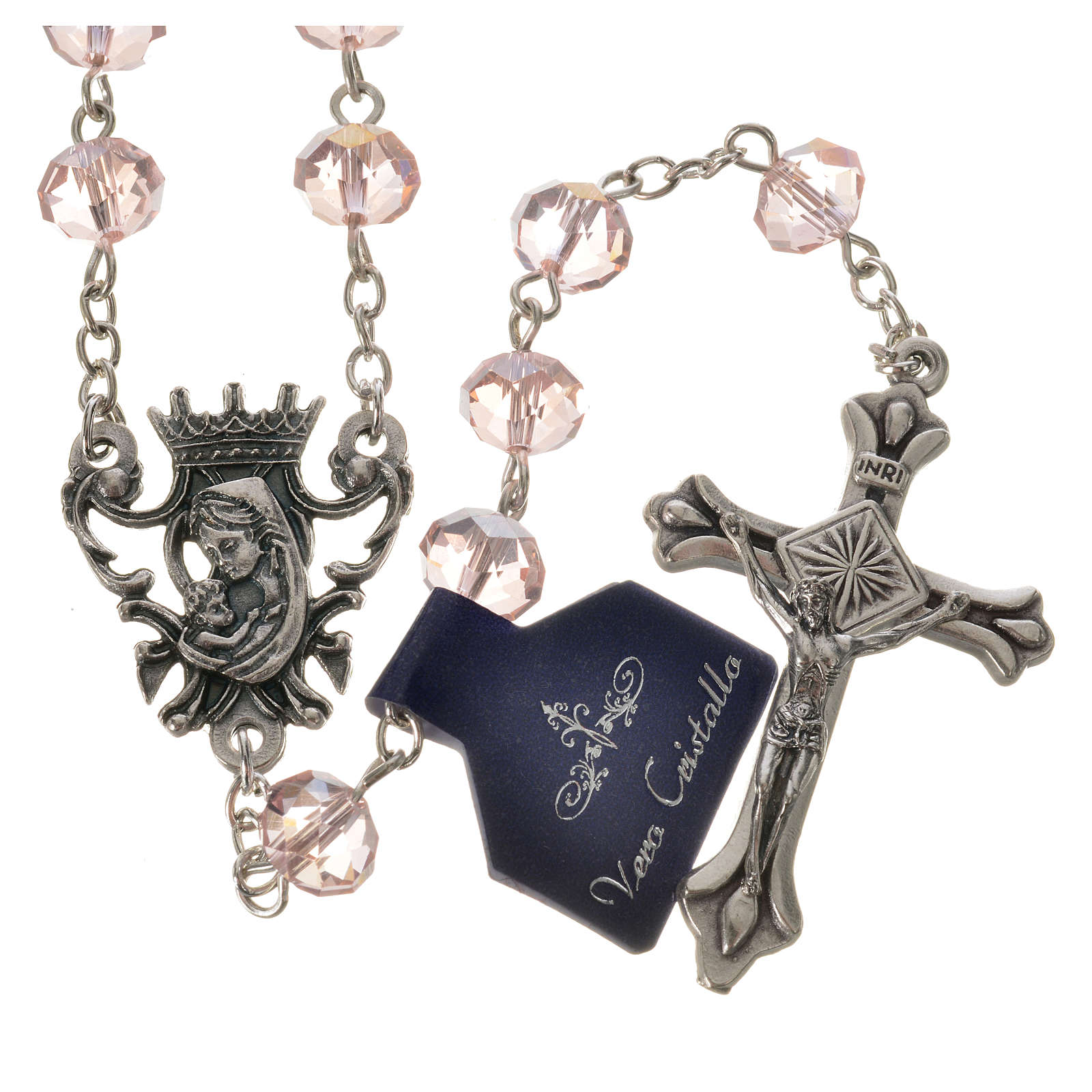 Rosary beads with crystal and porcelain 8x6mm pink 4