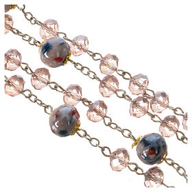 Rosary beads with crystal and porcelain 8x6mm pink s4