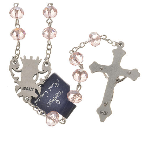 Rosary beads with crystal and porcelain 8x6mm pink 2