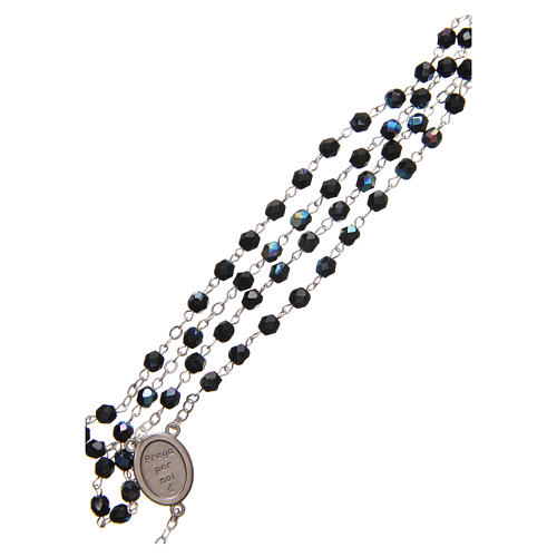 STOCK Rosary beads in iridescent crystal with Jubilee symbol 4mm black 3