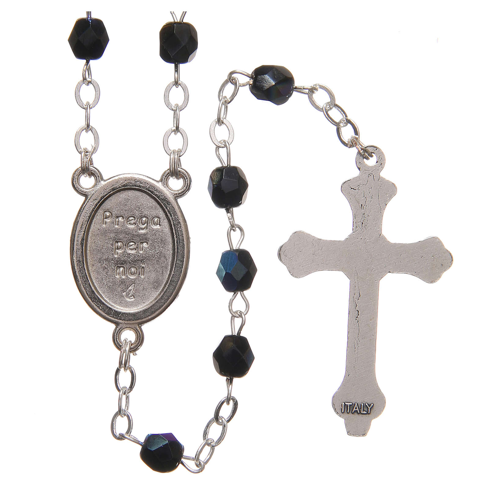 STOCK Rosary beads in iridescent crystal with Jubilee symbol 4mm black 4