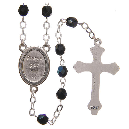 STOCK Rosary beads in iridescent crystal with Jubilee symbol 4mm black 2