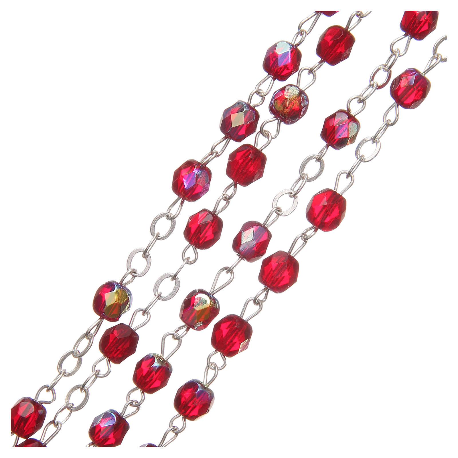 STOCK Rosario cristallo borealizzato Giubileo 4 mm rosso rubino 4