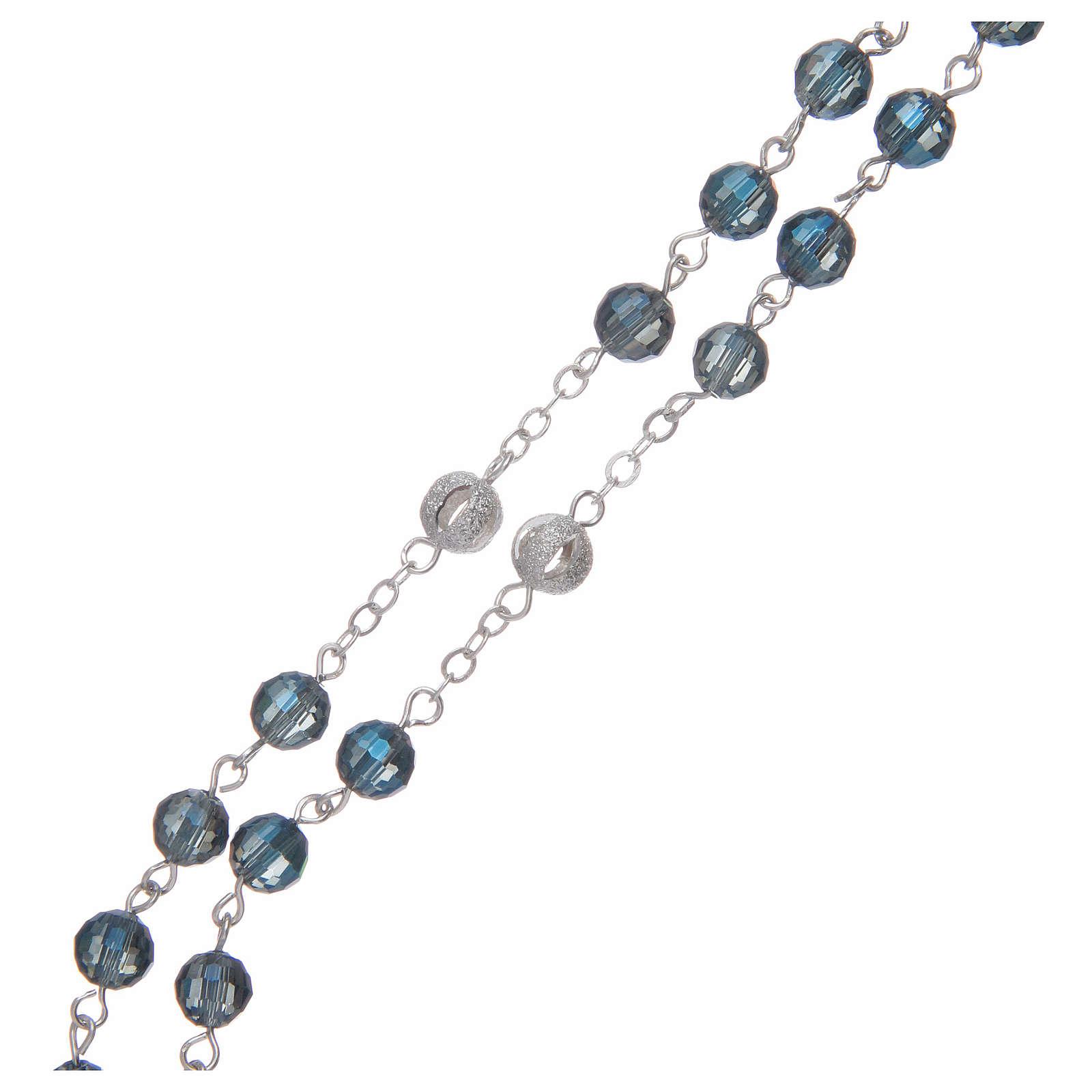 Chapelet avec grains de 6 mm en cristal bleu 4