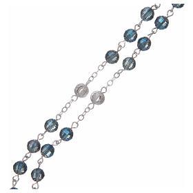 Chapelet avec grains de 6 mm en cristal bleu s3