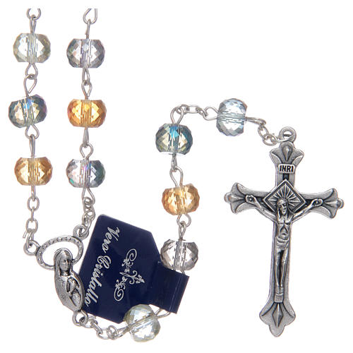 Rosary with crystal grains with shiny multicoloured cut 1