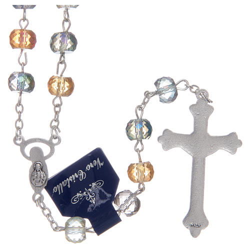Rosary with crystal grains with shiny multicoloured cut 2
