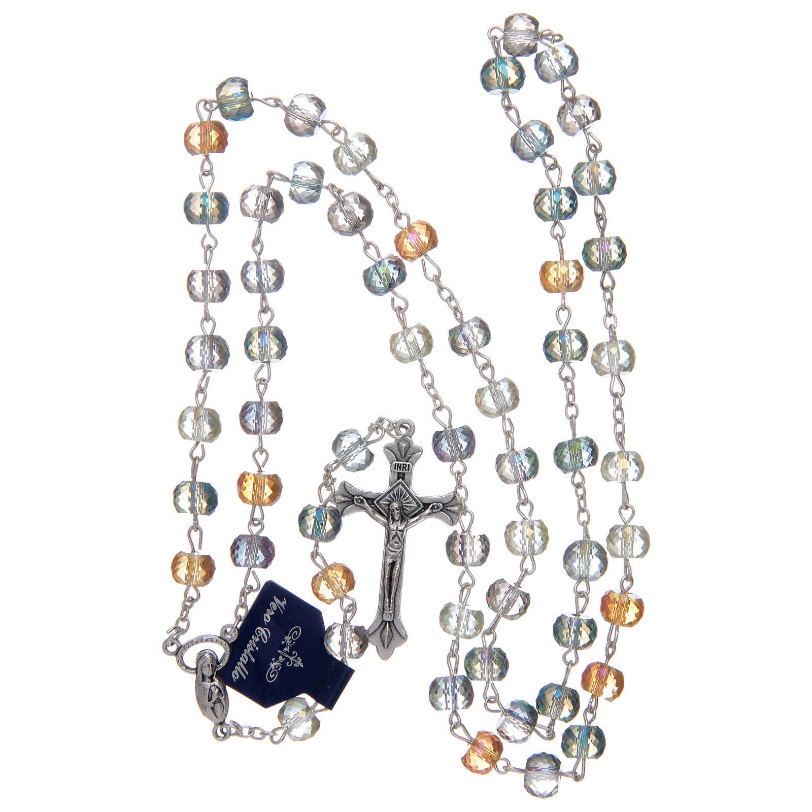 Rosario con grani in cristallo con taglio brillante multicolore 4