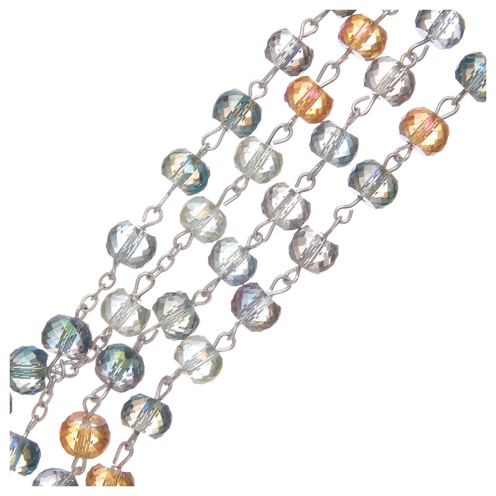 Terço com contas em cristal corte brilhante multicolor 4