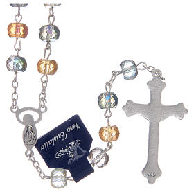 Rosary with crystal grains with shiny multicoloured cut s2