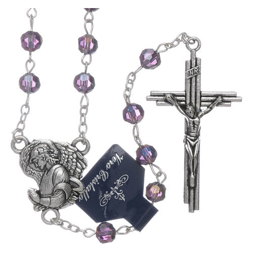 Rosary beads in purple faceted crystal Archangels, 6mm 1