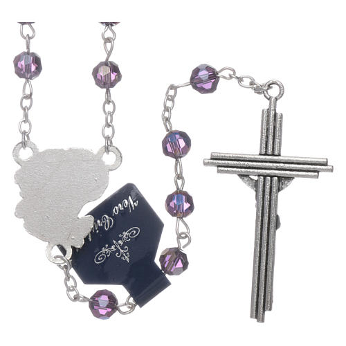 Rosary beads in purple faceted crystal Archangels, 6mm 2