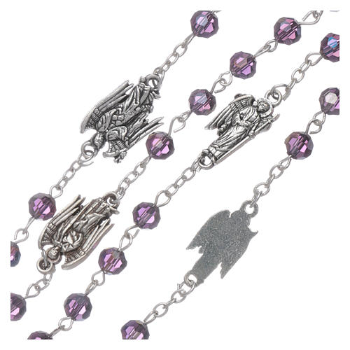 Rosary beads in purple faceted crystal Archangels, 6mm 3