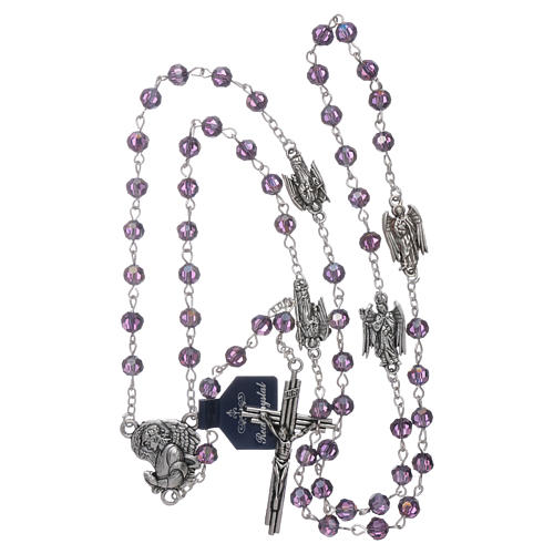Rosary beads in purple faceted crystal Archangels, 6mm 4