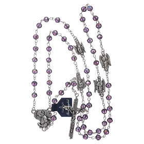 Rosary beads in purple faceted crystal Archangels, 6mm s4