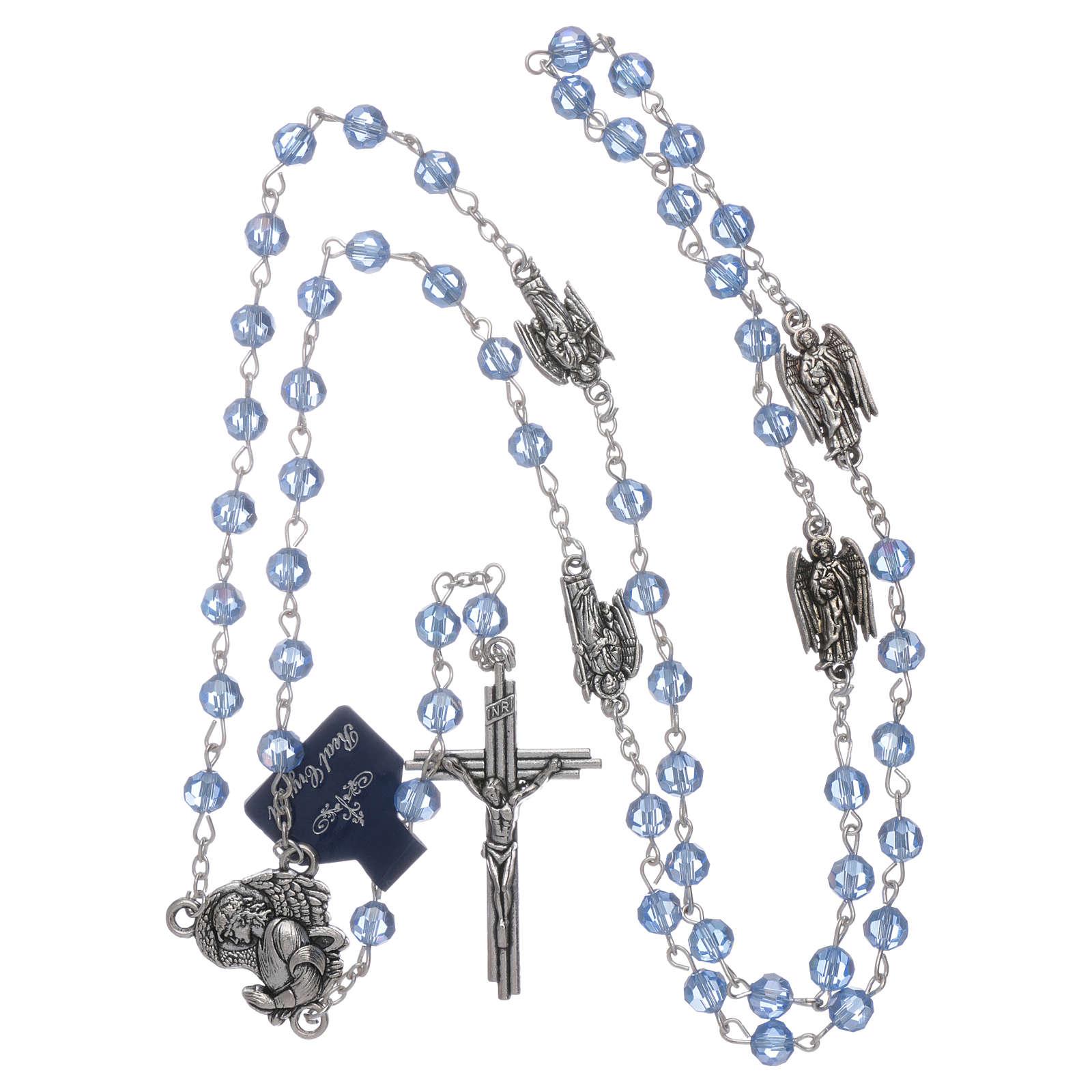 Rosario con Arcangeli cristallo con grani color acqua 6 mm 4