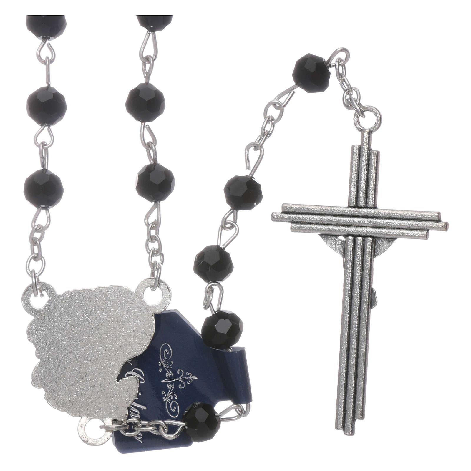 Rosario dedicato agli Arcangeli cristallo nero grani 6 mm 4