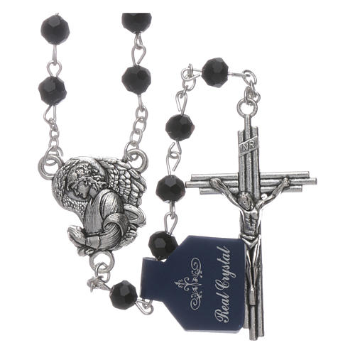 Rosary beads black crystal Archangels, 6mm 1