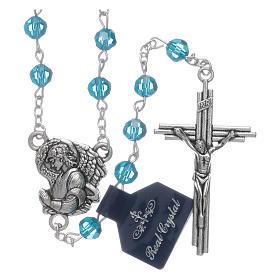 Rosarios de cristal: Rosario Arcángeles cristal azul claro cuentas 6 mm