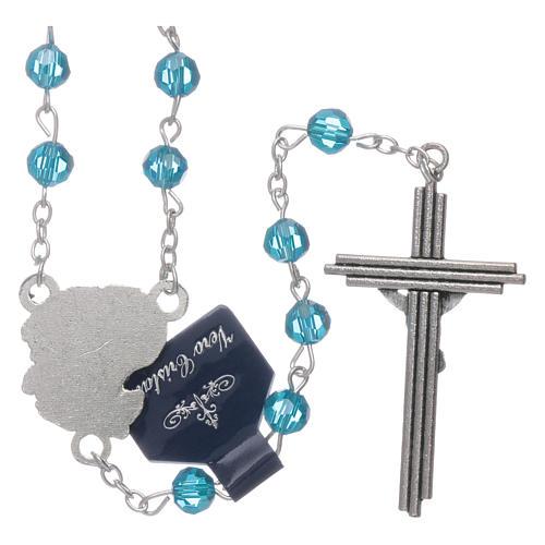 Rosario Arcangeli cristallo azzurro con grani 6 mm 2
