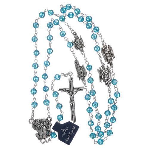 Rosario Arcangeli cristallo azzurro con grani 6 mm 4