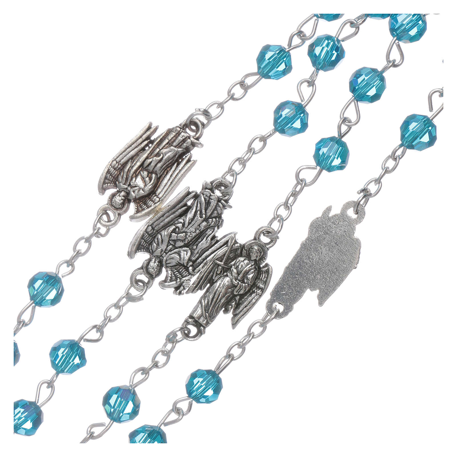 Różaniec Archaniołowie kryształ błękitny koraliki 6 mm 4