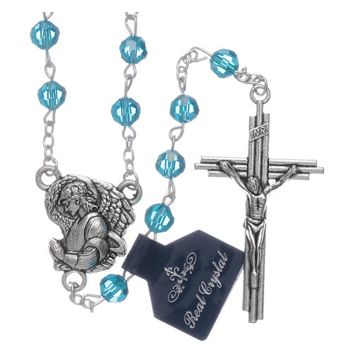 Rosary beads light blue crystal Archangels, 6mm 1
