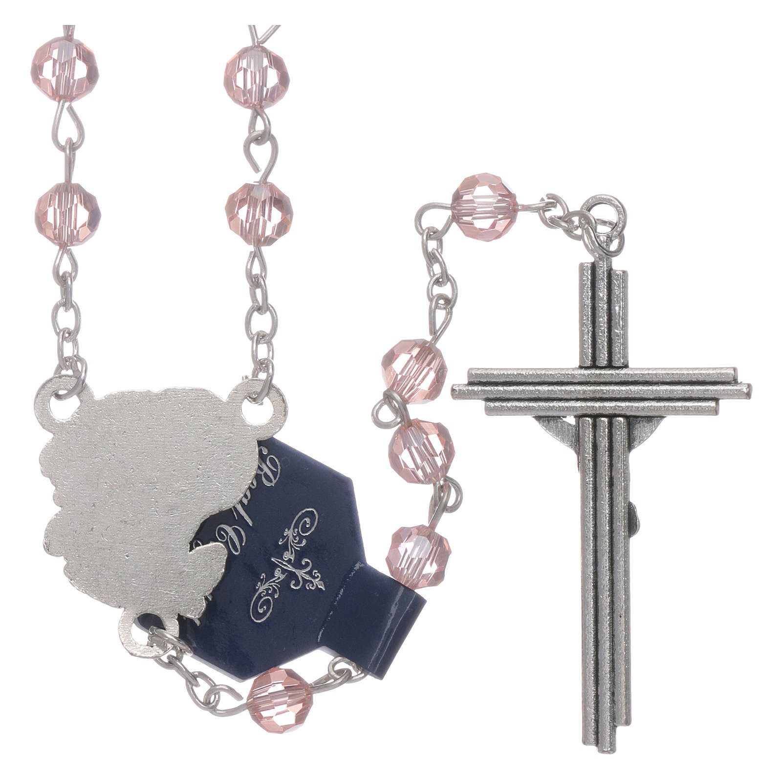 Rosary beads pink crystal Archangels, 6mm 4