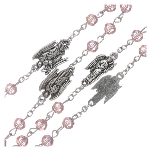 Rosary beads pink crystal Archangels, 6mm 3