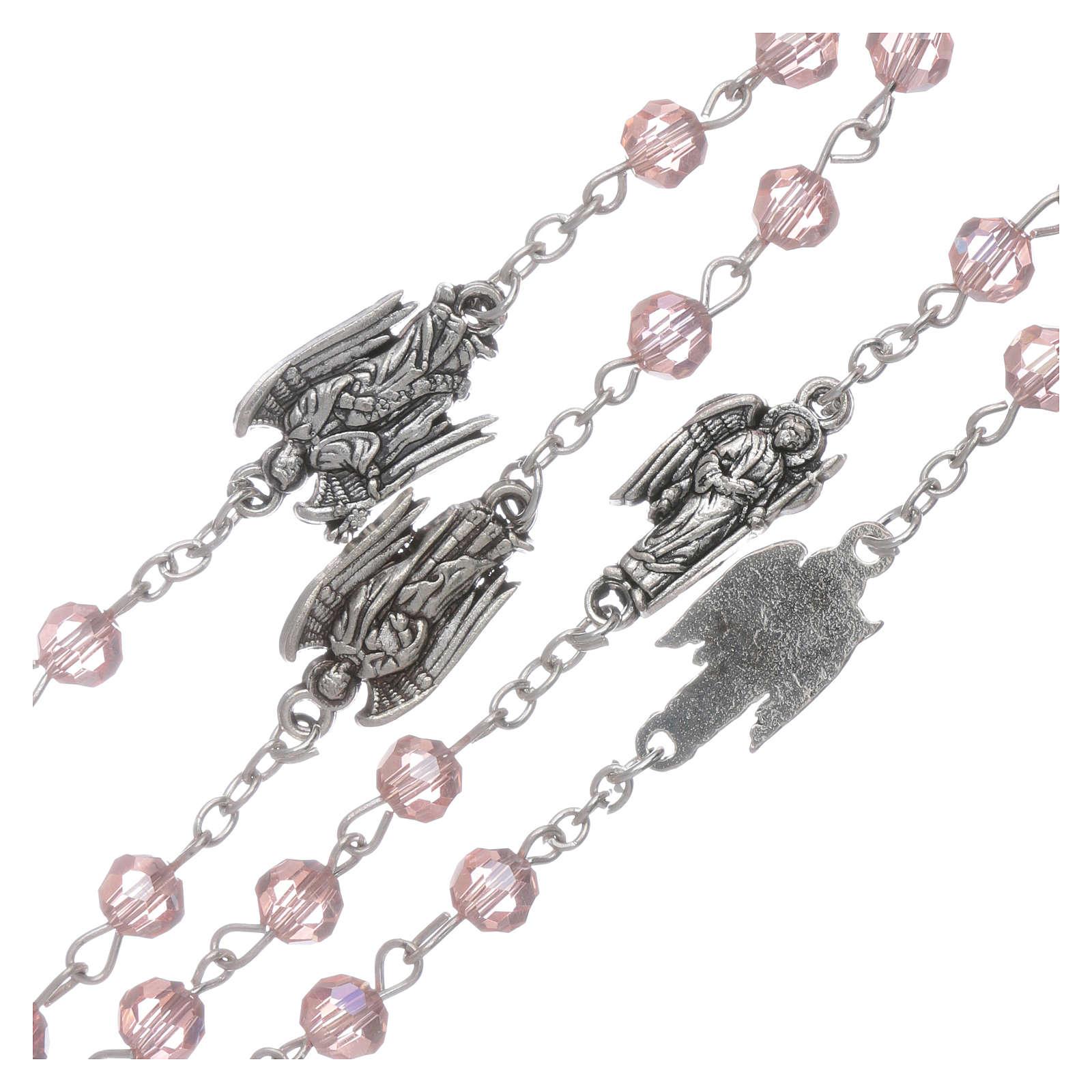 Rosario rosa con Arcángeles granos 6 mm 4