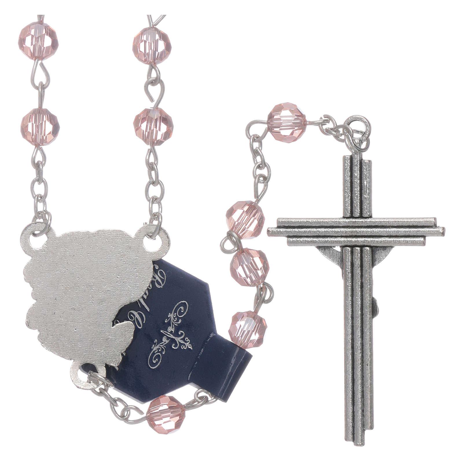 Rosario rosa con Arcangeli grani 6 mm 4