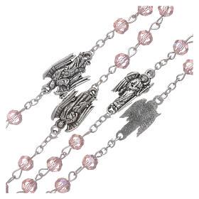 Rosario rosa con Arcangeli grani 6 mm s3