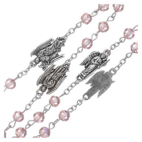 Rosario rosa con Arcangeli grani 6 mm 3