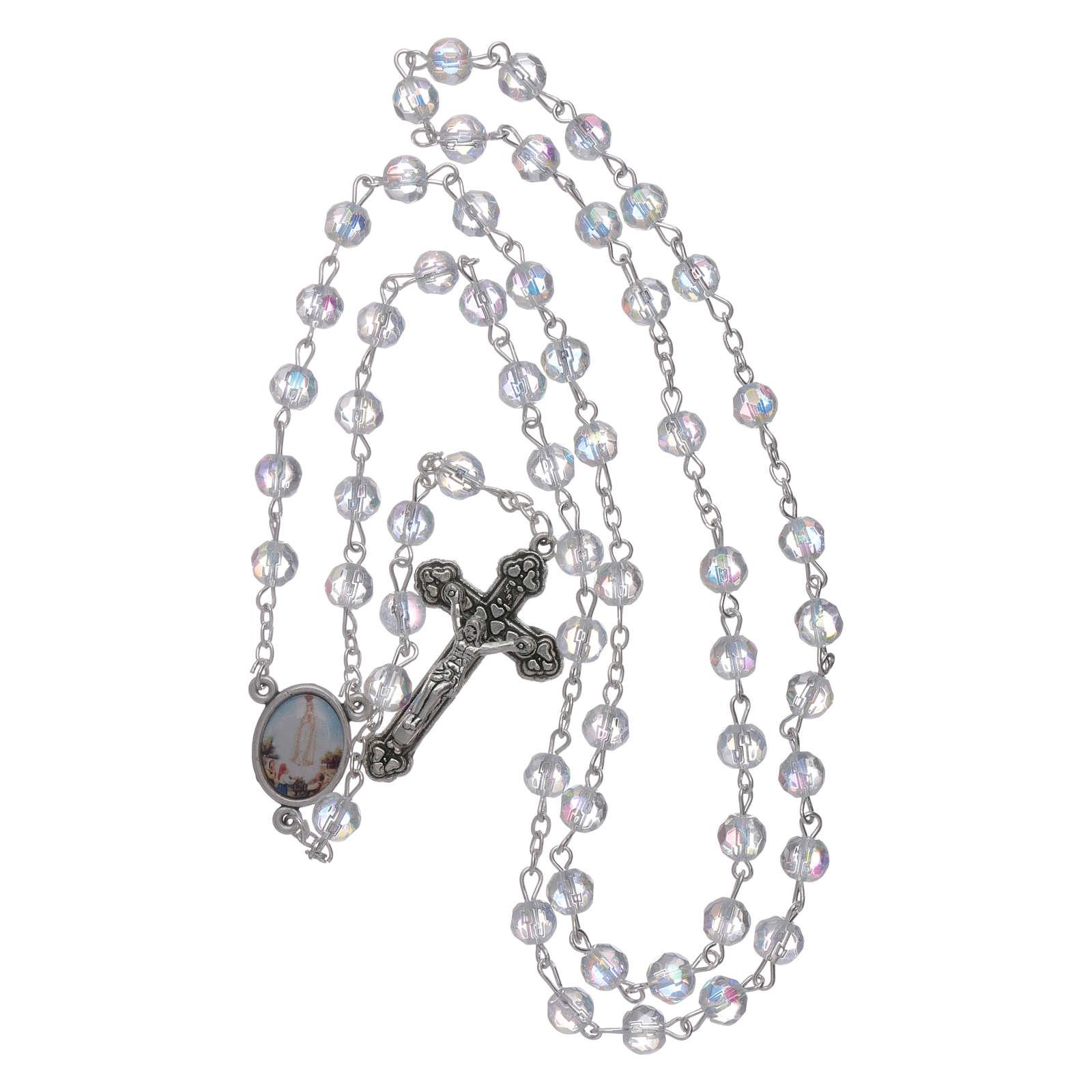 Chapelet Fatima grains cristal transparent 6 mm 4