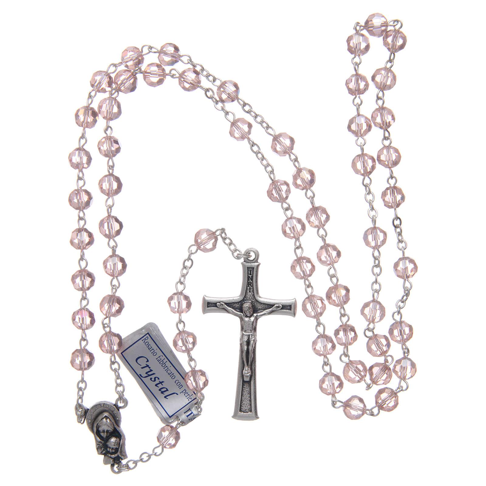 Rosario in cristallo rosa e metallo ossidato 4