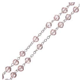 Rosario in cristallo rosa e metallo ossidato s3