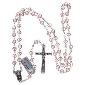 Rosario in cristallo rosa e metallo ossidato s4