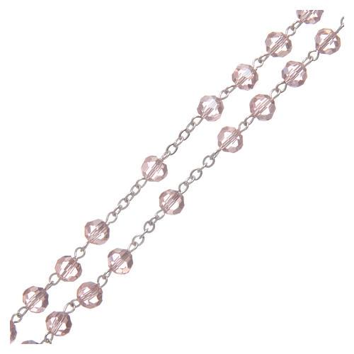 Rosario in cristallo rosa e metallo ossidato 3