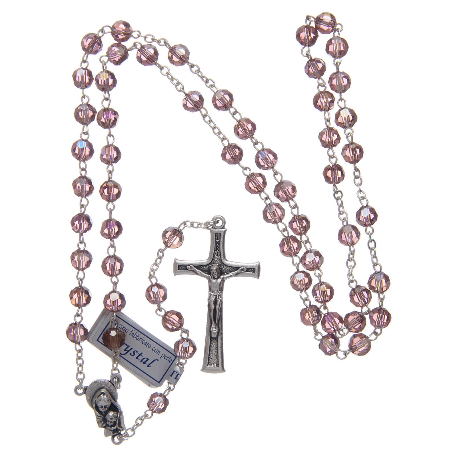 Rosary in amethyst crystal and oxidised metal 4