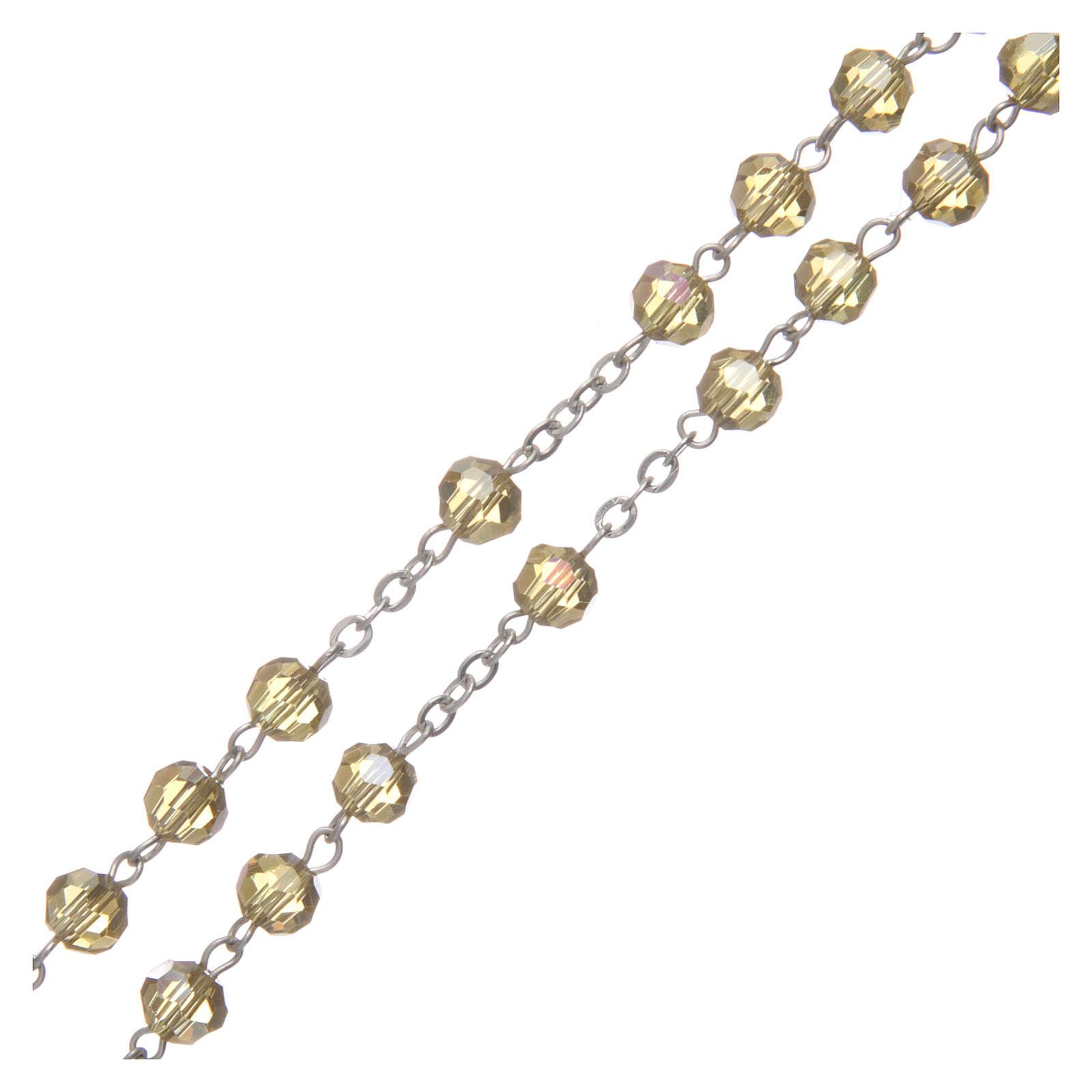 Rosario in cristallo oro e metallo ossidato 4