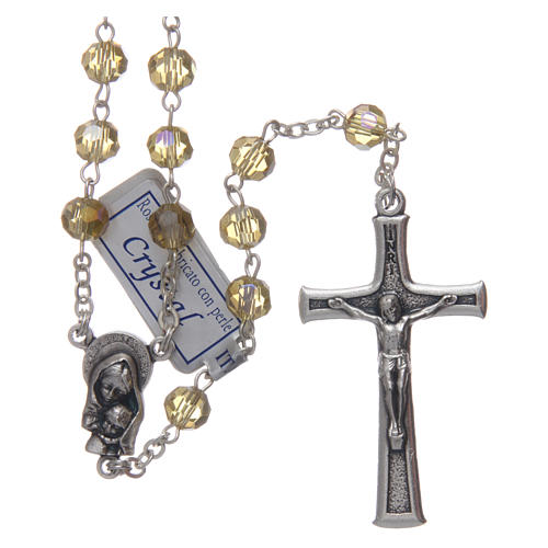 Rosary in gold crystal and oxidised metal 1