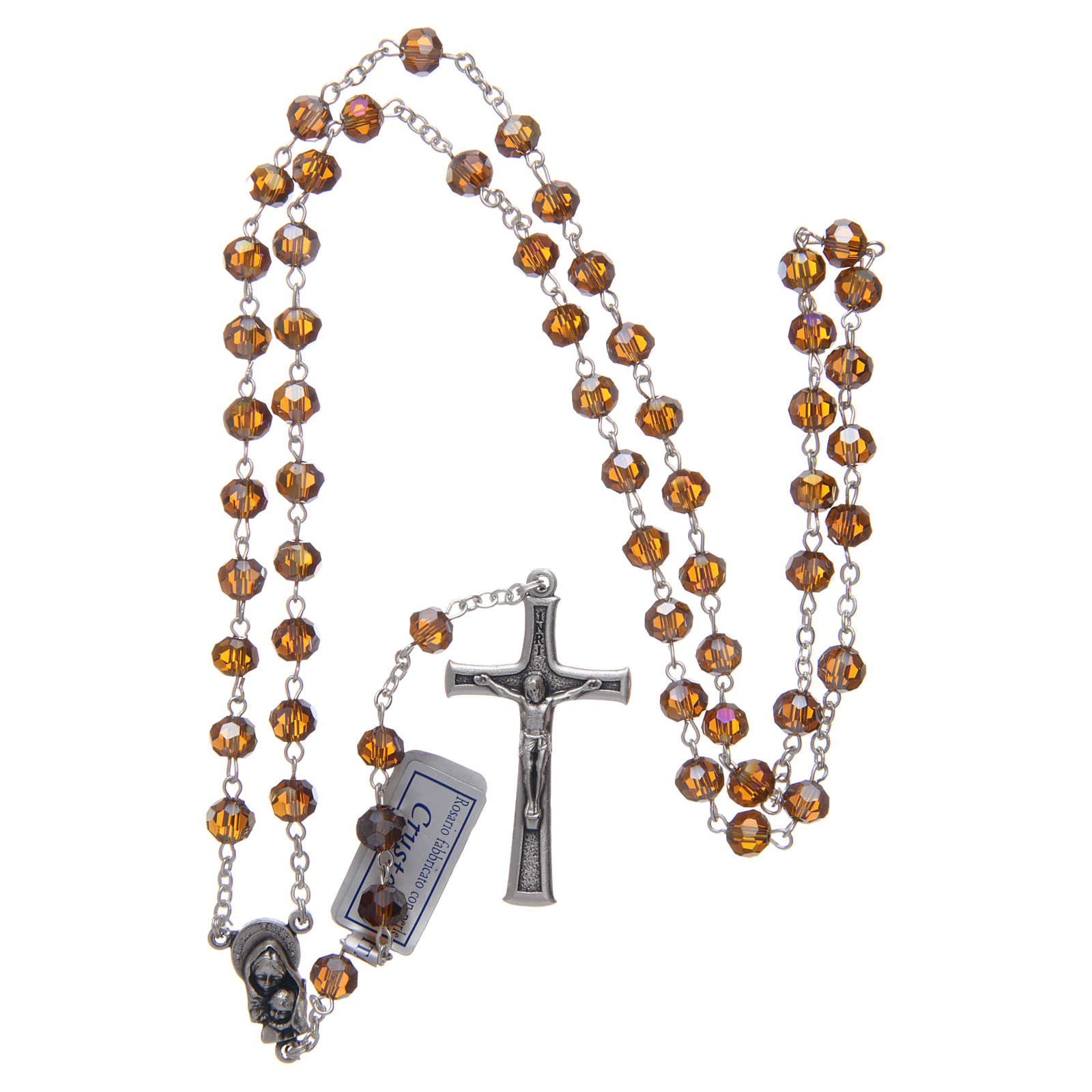 Rosary in smoky grey crystal and oxidised metal 4