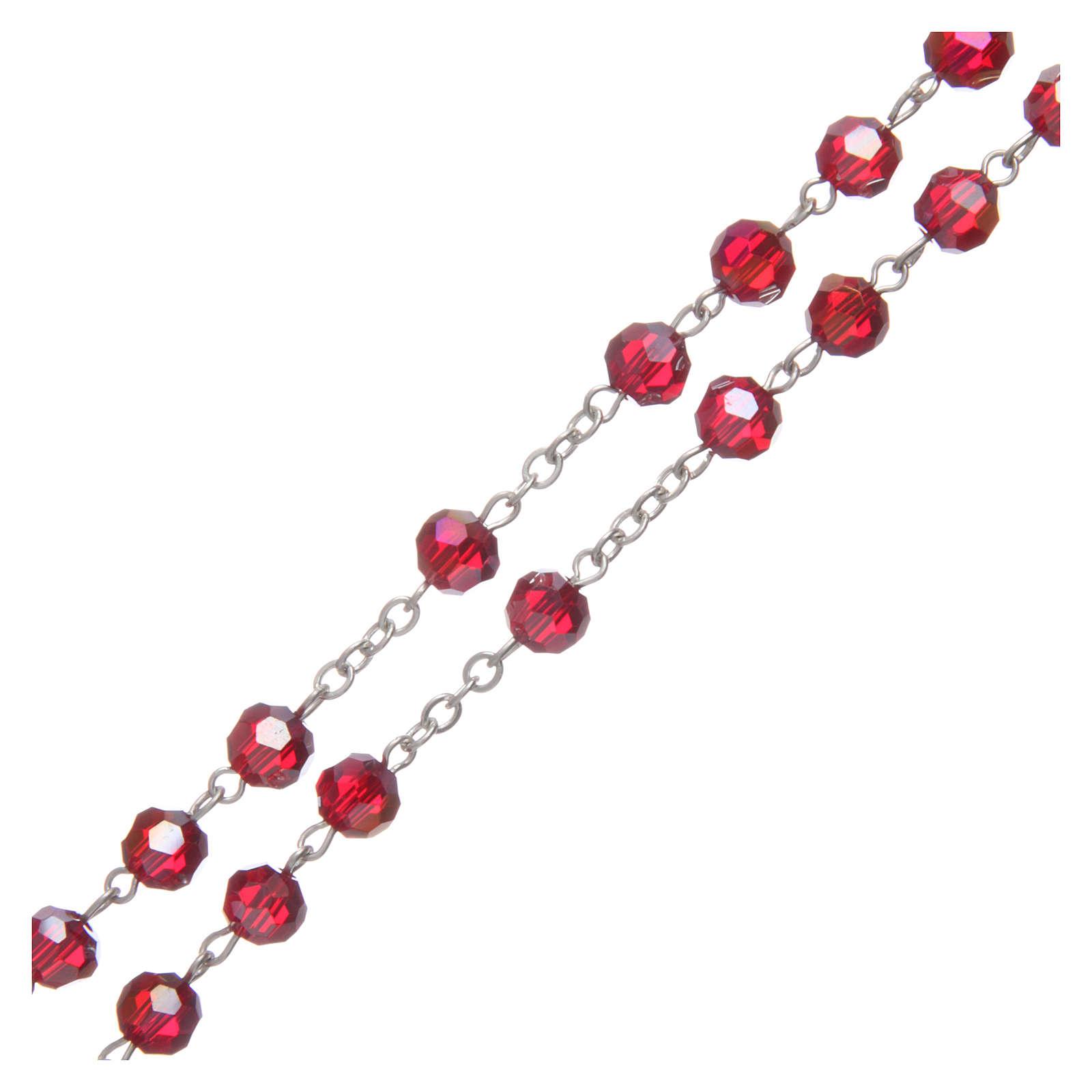 Rosario in cristallo rubino e metallo ossidato 4
