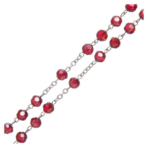 Rosario in cristallo rubino e metallo ossidato 3