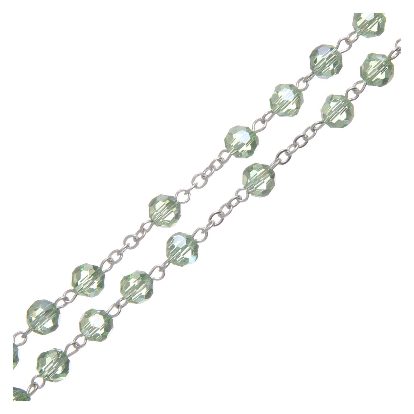 Rosario in cristallo verde e metallo ossidato 4