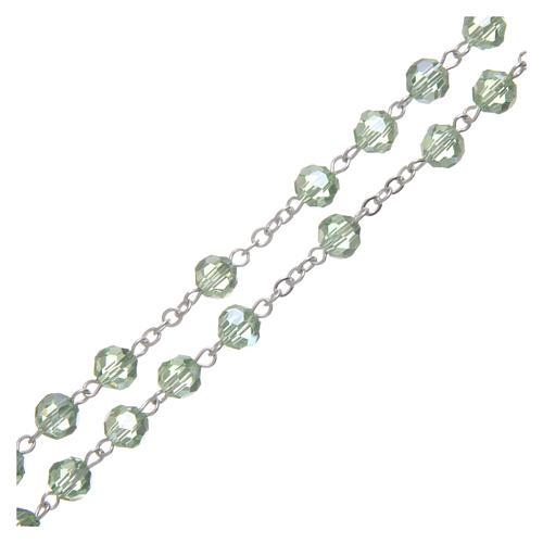 Rosario in cristallo verde e metallo ossidato 3
