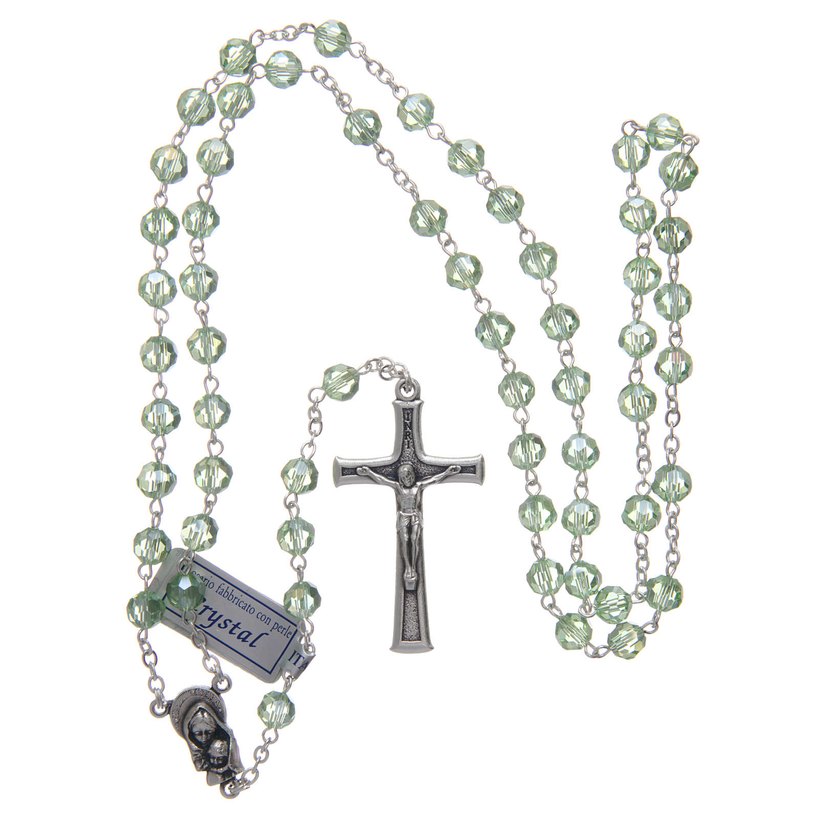 Rosary in green crystal and oxidised metal 4