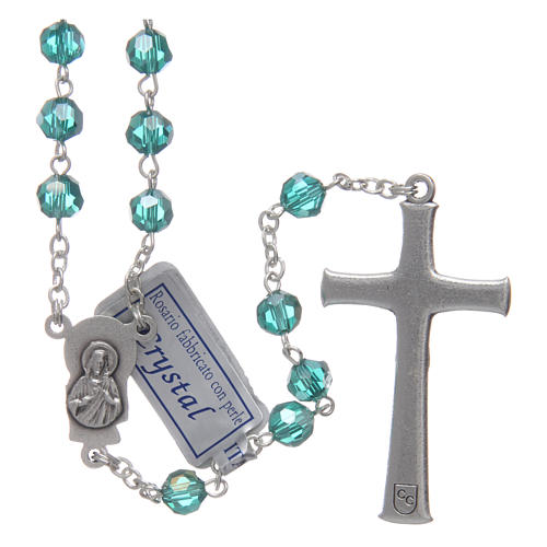 Rosary in emerald crystal and oxidised metal 2